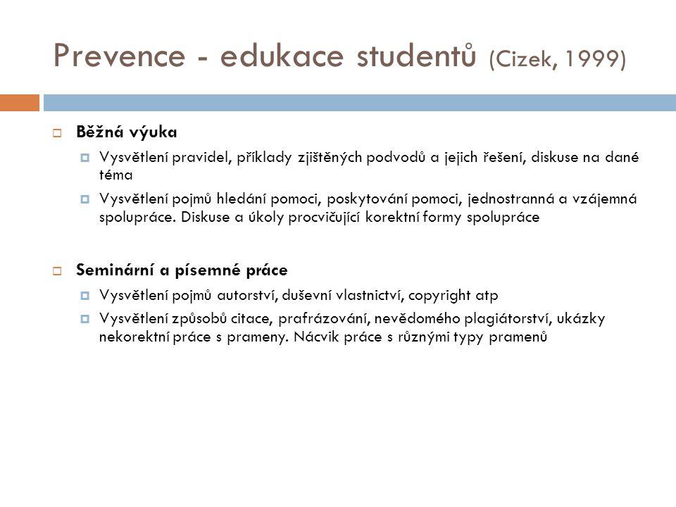 Prevence - edukace studentů (Cizek, 1999)