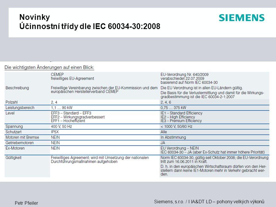 Novinky Účinnostní třídy dle IEC 60034-30:2008