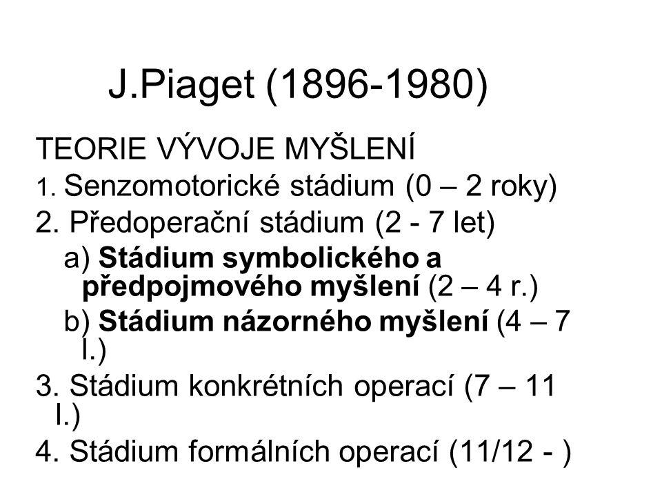 J.Piaget (1896-1980) TEORIE VÝVOJE MYŠLENÍ