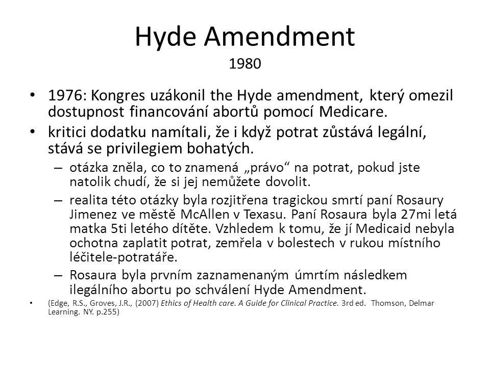 Hyde Amendment 1980 1976: Kongres uzákonil the Hyde amendment, který omezil dostupnost financování abortů pomocí Medicare.
