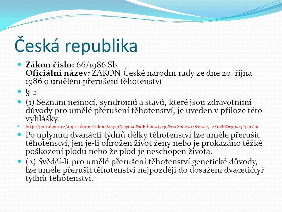 Česká republika Zákon číslo: 66/1986 Sb. Oficiální název: ZÁKON České národní rady ze dne 20. října 1986 o umělém přerušení těhotenství.