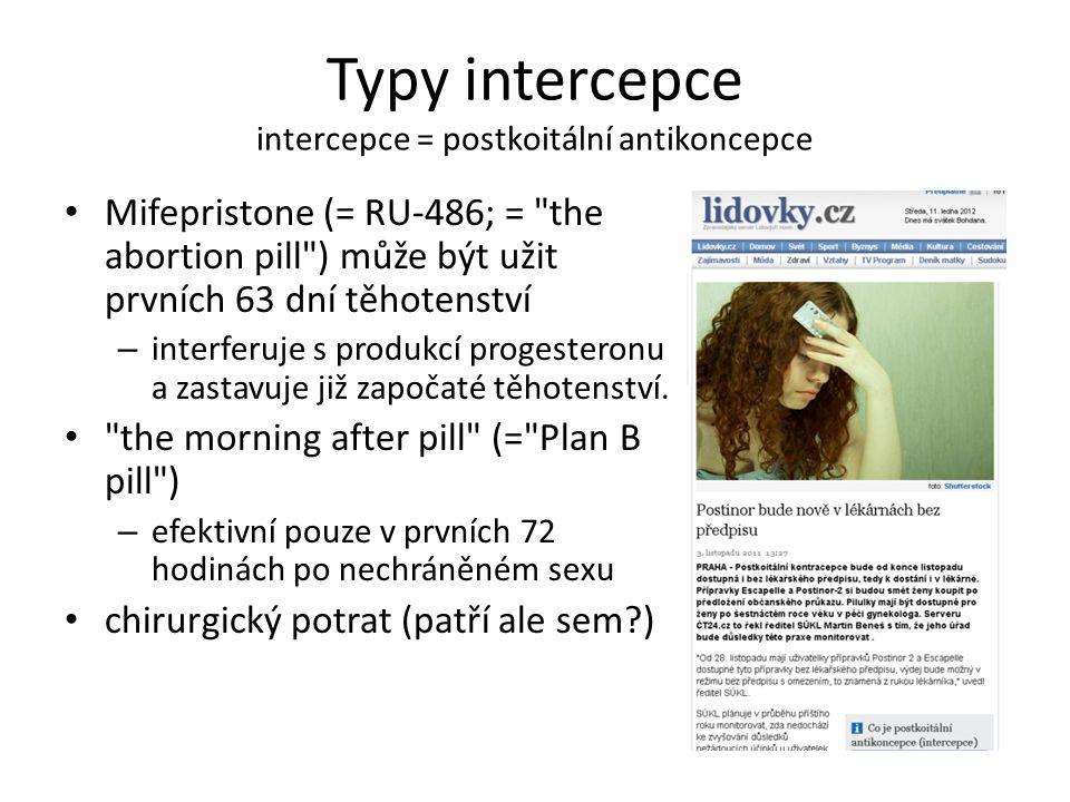 Typy intercepce intercepce = postkoitální antikoncepce