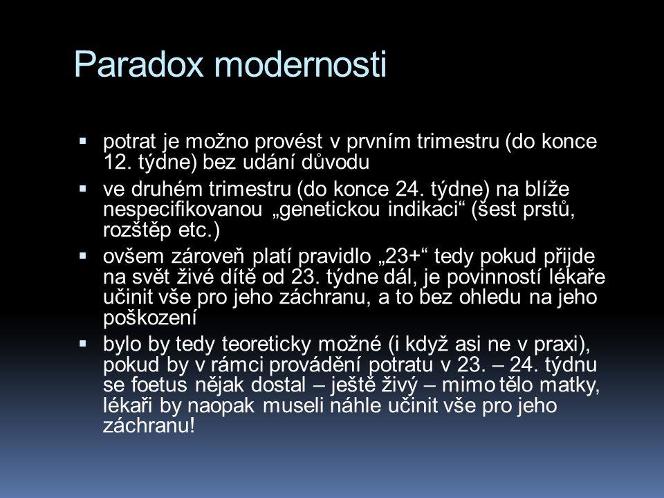 Paradox modernosti potrat je možno provést v prvním trimestru (do konce 12. týdne) bez udání důvodu.