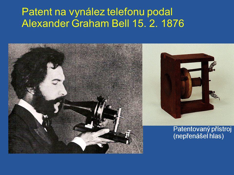 Patent na vynález telefonu podal Alexander Graham Bell 15. 2. 1876