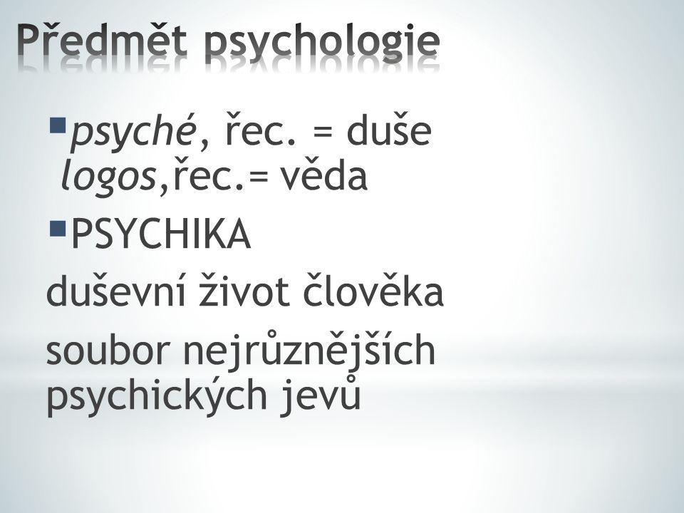 Předmět psychologie psyché, řec. = duše logos,řec.= věda PSYCHIKA