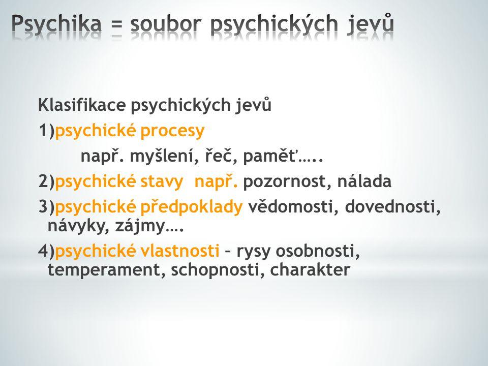 Psychika = soubor psychických jevů