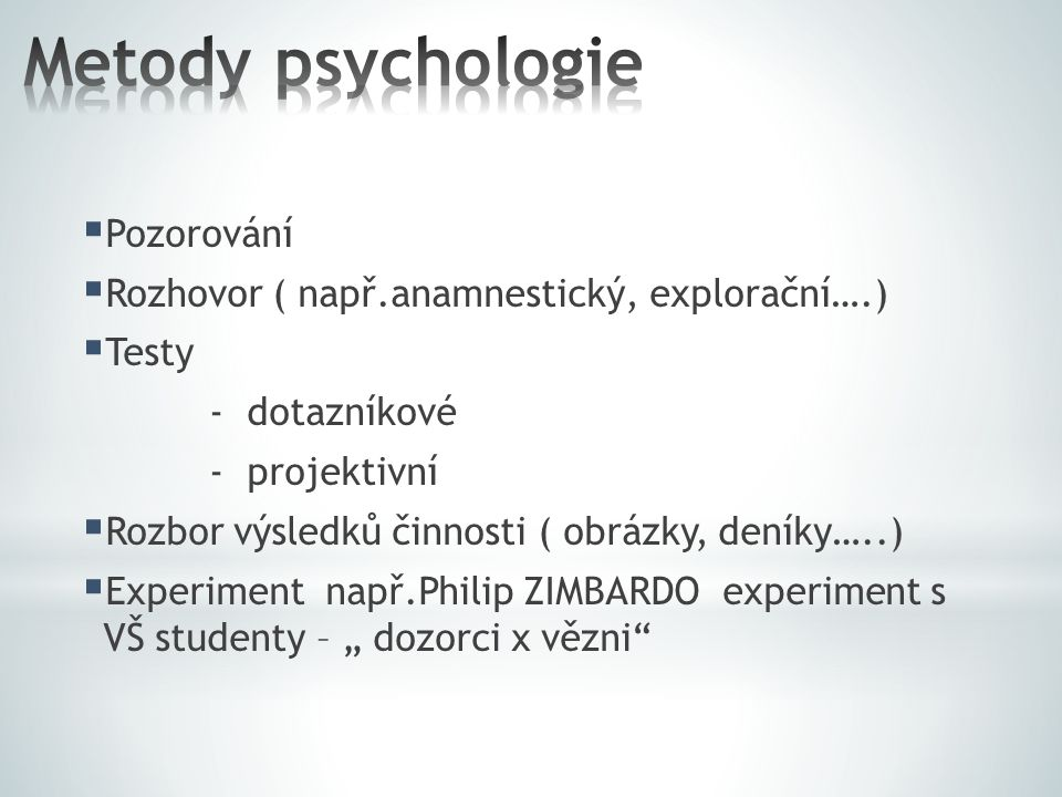 Metody psychologie Pozorování