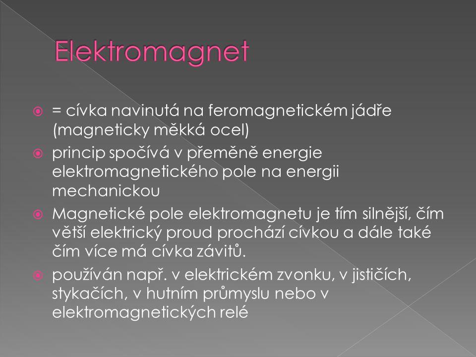Elektromagnet = cívka navinutá na feromagnetickém jádře (magneticky měkká ocel)