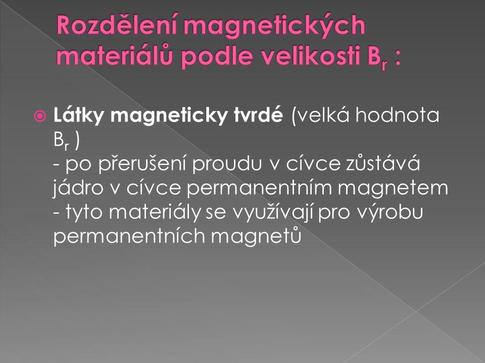 Rozdělení magnetických materiálů podle velikosti Br :