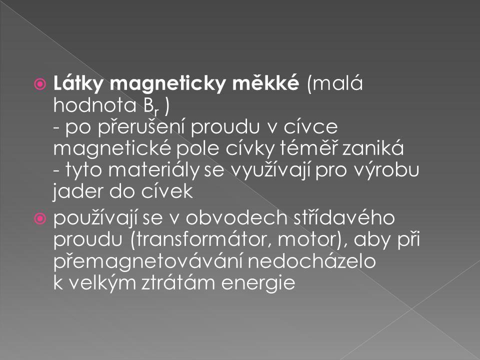 Látky magneticky měkké (malá hodnota Br ) - po přerušení proudu v cívce magnetické pole cívky téměř zaniká - tyto materiály se využívají pro výrobu jader do cívek