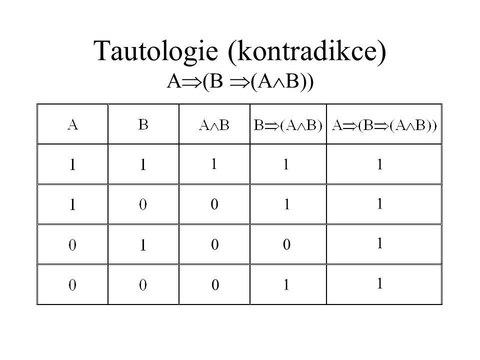 Tautologie (kontradikce) A(B (AB))