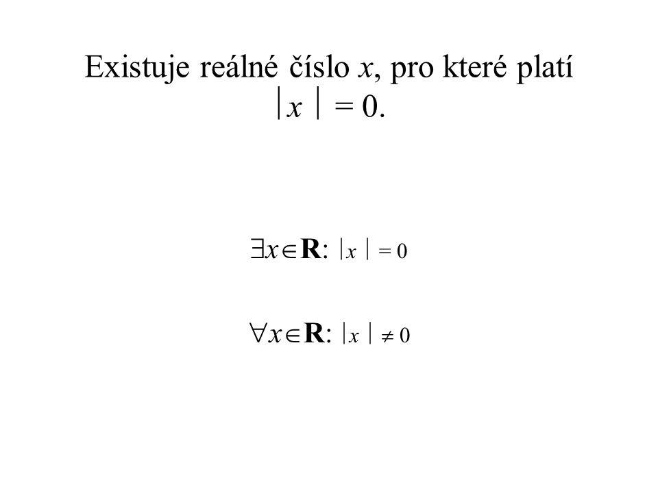 Existuje reálné číslo x, pro které platí x  = 0.