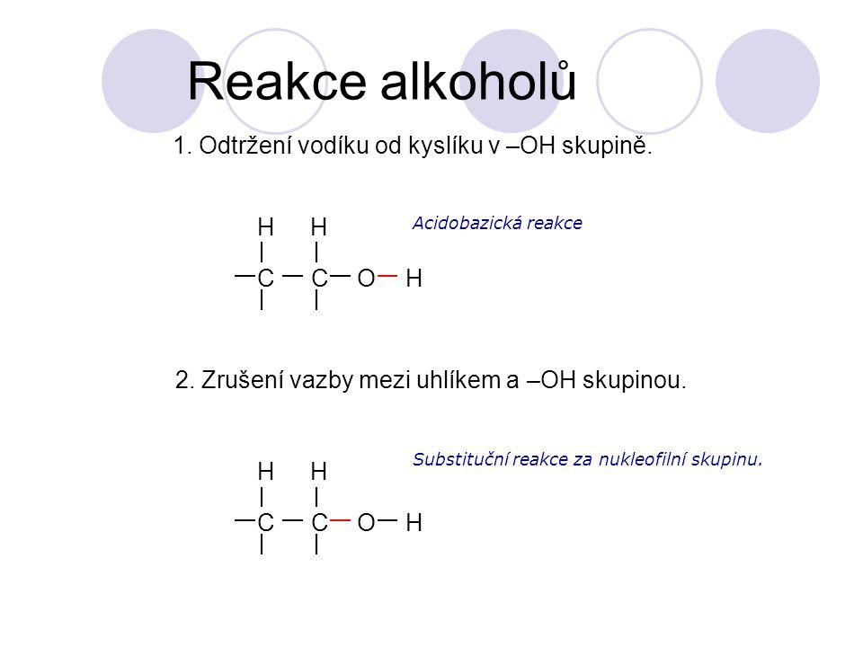Reakce alkoholů 1. Odtržení vodíku od kyslíku v –OH skupině. C O H