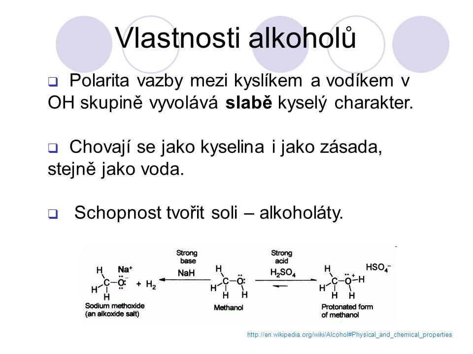 Vlastnosti alkoholů Polarita vazby mezi kyslíkem a vodíkem v OH skupině vyvolává slabě kyselý charakter.