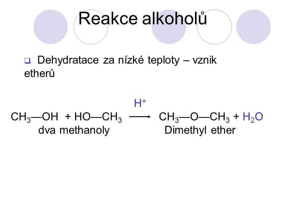 Reakce alkoholů Dehydratace za nízké teploty – vznik etherů H+