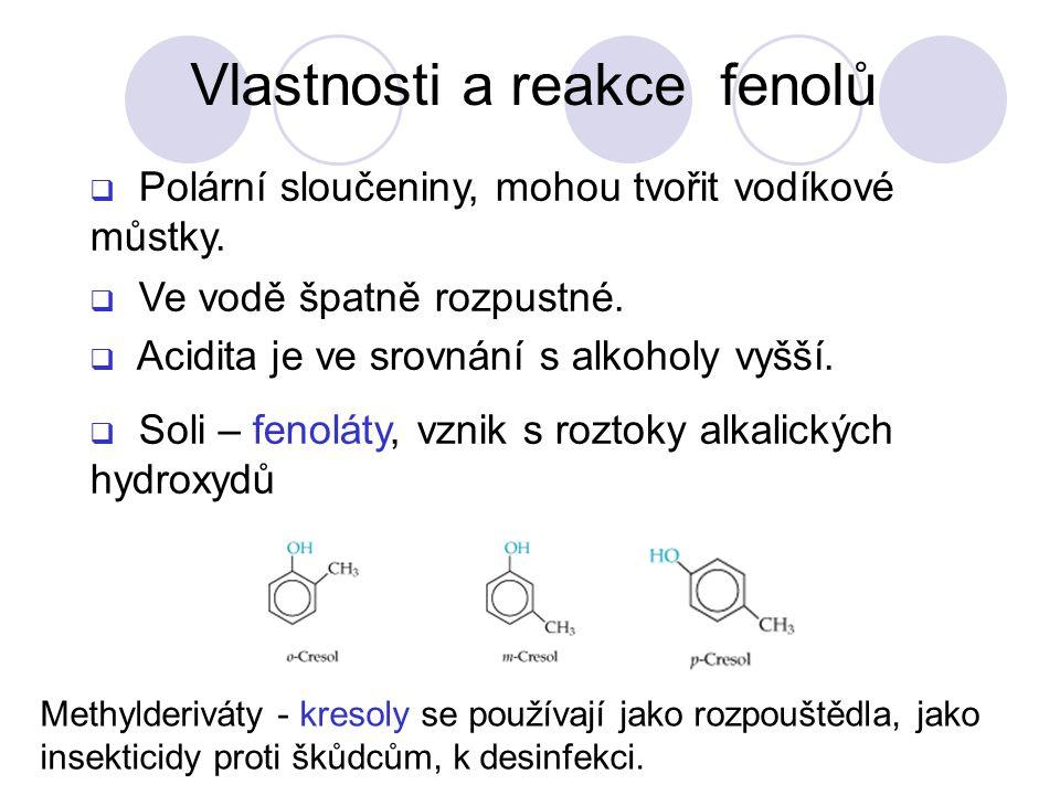 Vlastnosti a reakce fenolů