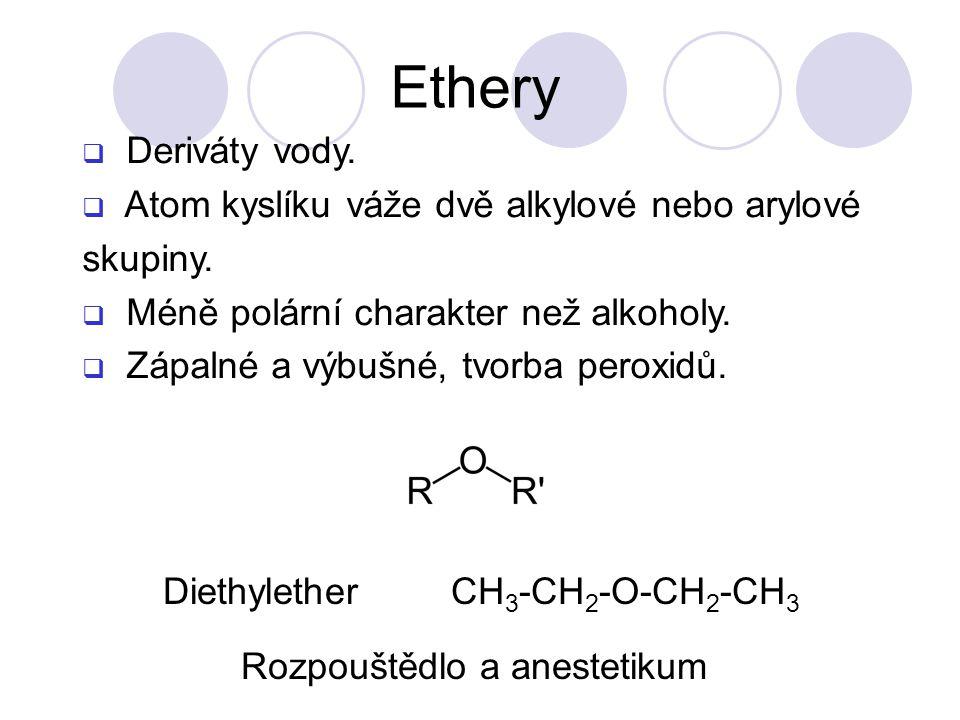Ethery Deriváty vody. Atom kyslíku váže dvě alkylové nebo arylové skupiny. Méně polární charakter než alkoholy.