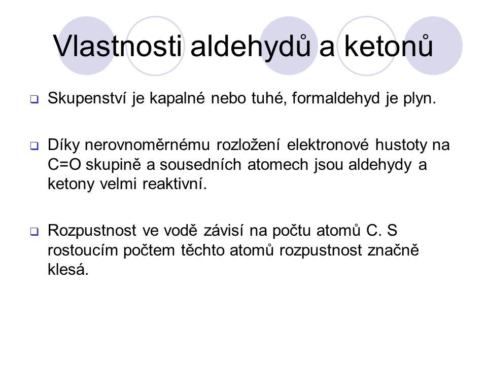 Vlastnosti aldehydů a ketonů
