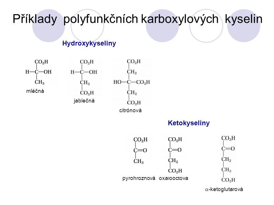 Příklady polyfunkčních karboxylových kyselin