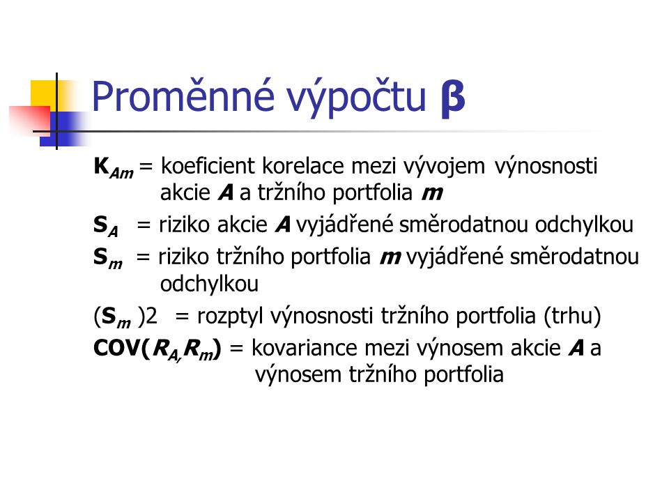 Proměnné výpočtu β