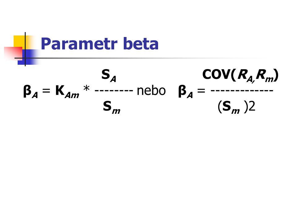 Parametr beta SA COV(RA,Rm) βA = KAm * -------- nebo βA = ------------- Sm (Sm )2