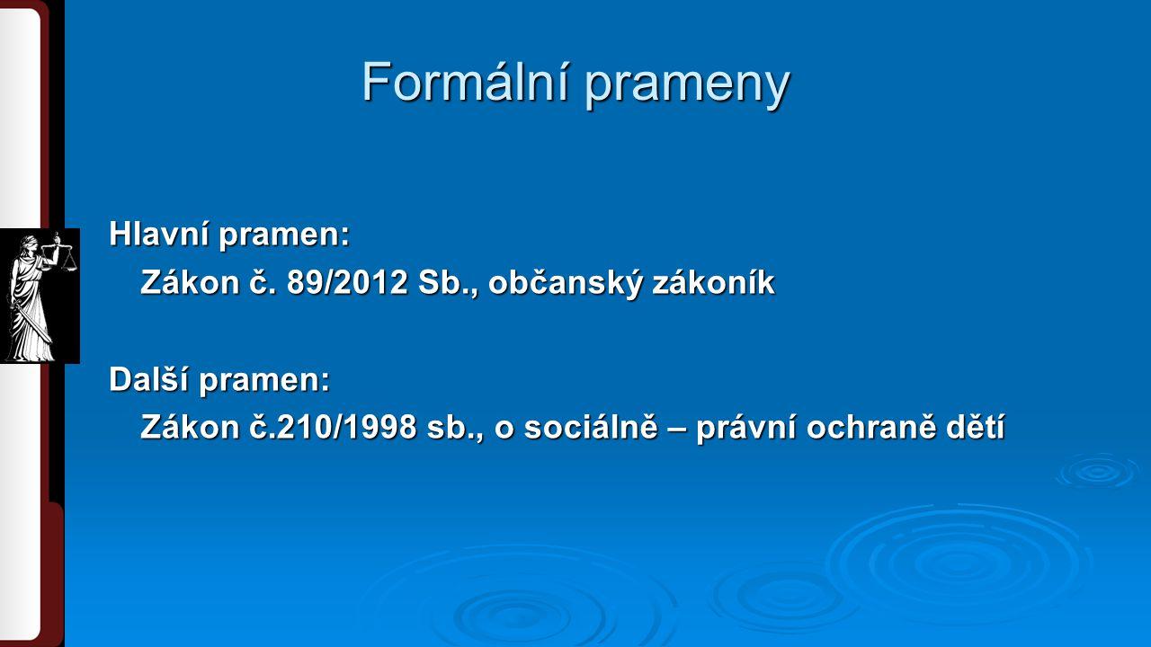 Formální prameny Hlavní pramen: Zákon č.