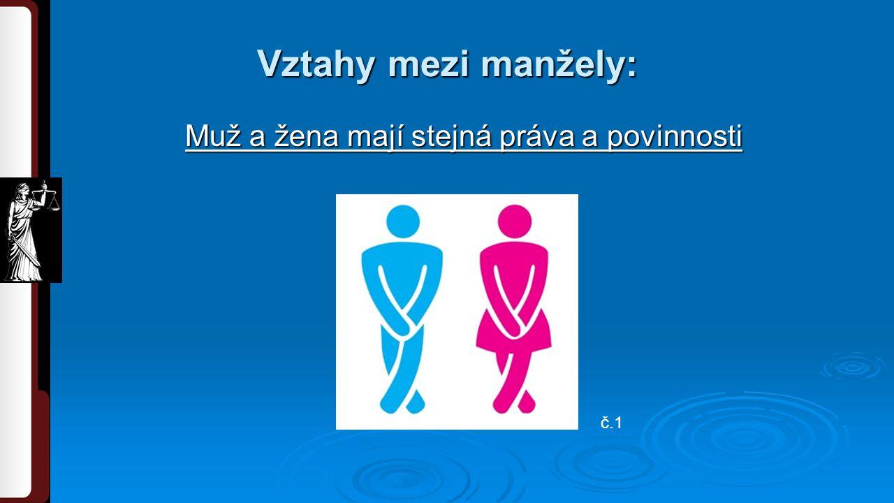 Muž a žena mají stejná práva a povinnosti