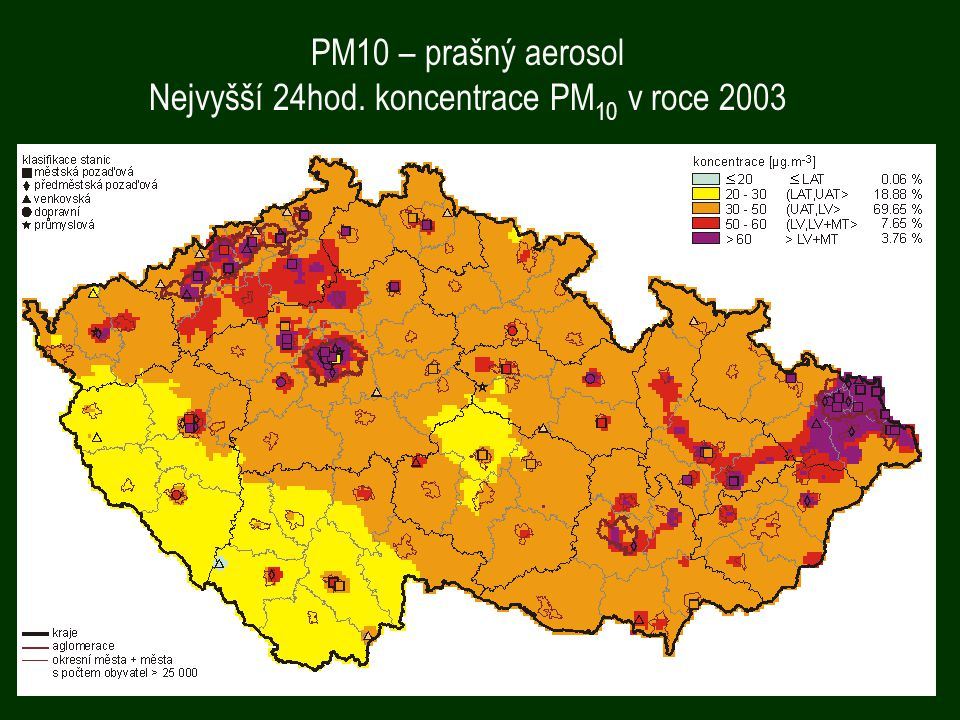 Nejvyšší 24hod. koncentrace PM10 v roce 2003