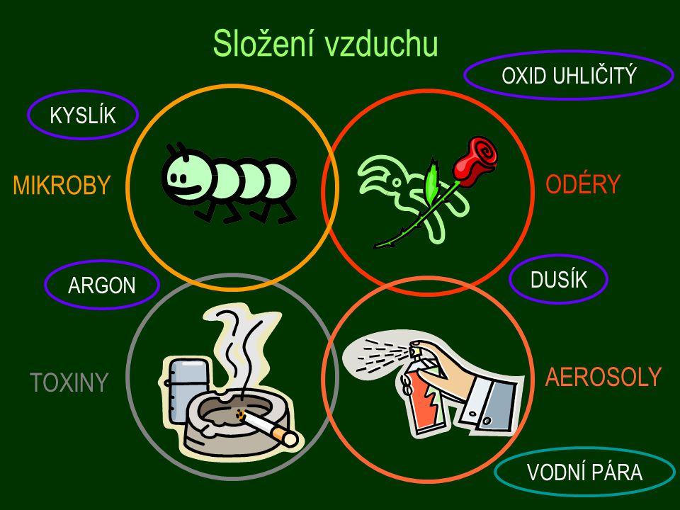 Složení vzduchu MIKROBY ODÉRY AEROSOLY TOXINY OXID UHLIČITÝ KYSLÍK