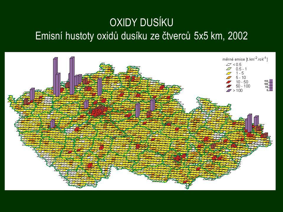 Emisní hustoty oxidů dusíku ze čtverců 5x5 km, 2002