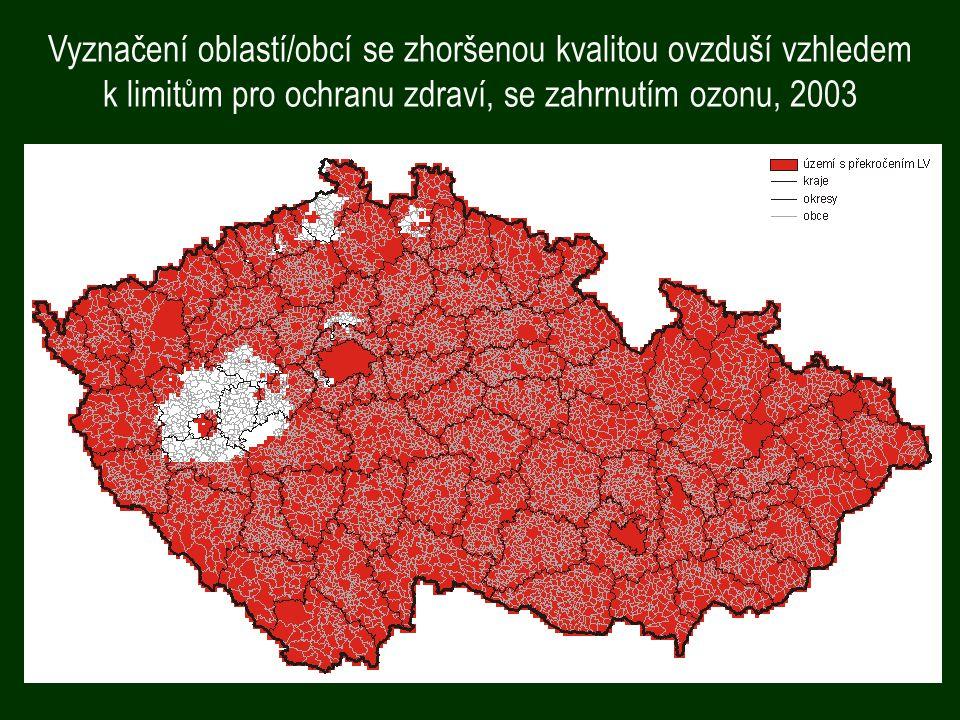 Vyznačení oblastí/obcí se zhoršenou kvalitou ovzduší vzhledem k limitům pro ochranu zdraví, se zahrnutím ozonu, 2003
