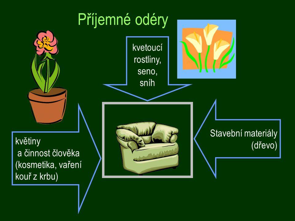 Příjemné odéry kvetoucí rostliny, seno, sníh Stavební materiály