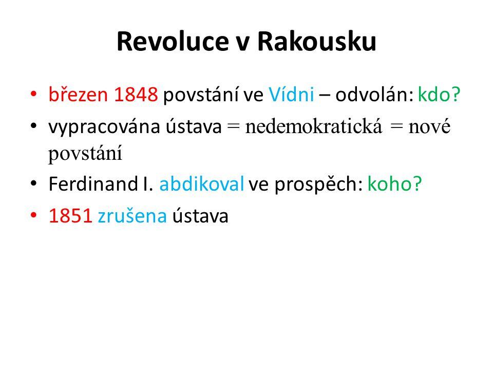 Revoluce v Rakousku březen 1848 povstání ve Vídni – odvolán: kdo