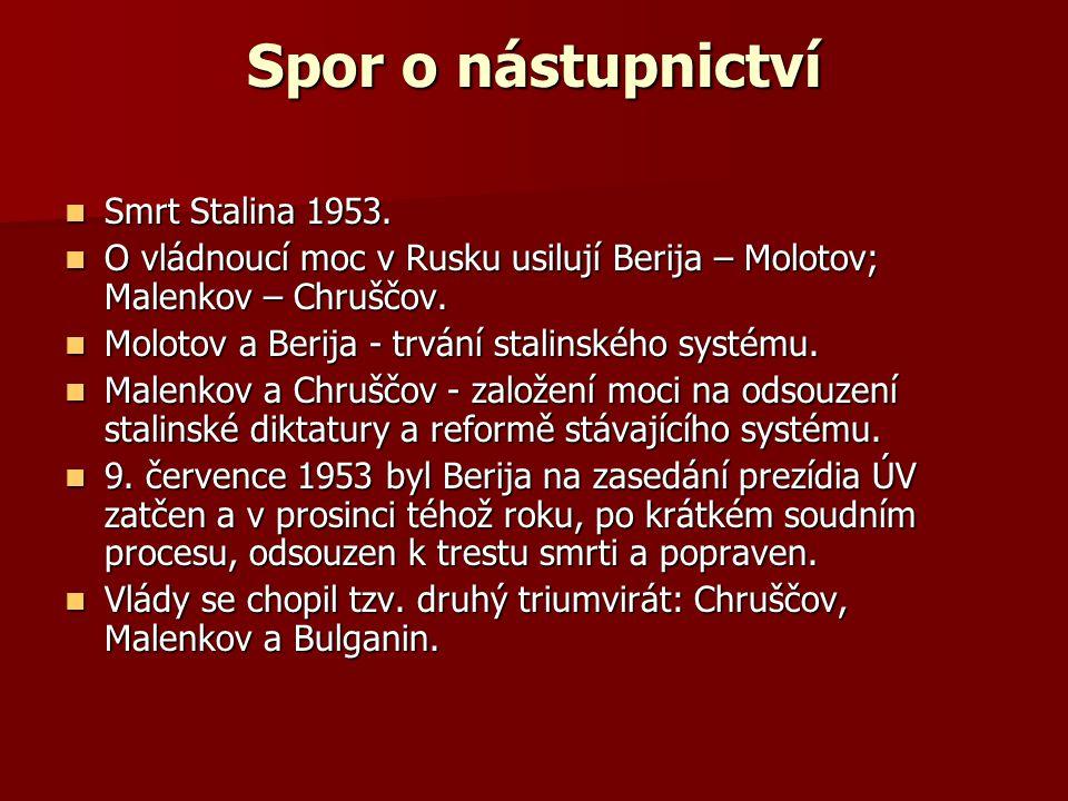 Spor o nástupnictví Smrt Stalina 1953.