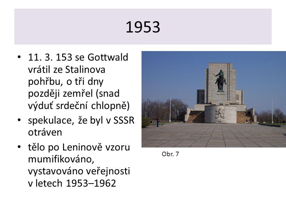1953 11. 3. 153 se Gottwald vrátil ze Stalinova pohřbu, o tři dny později zemřel (snad výduť srdeční chlopně)