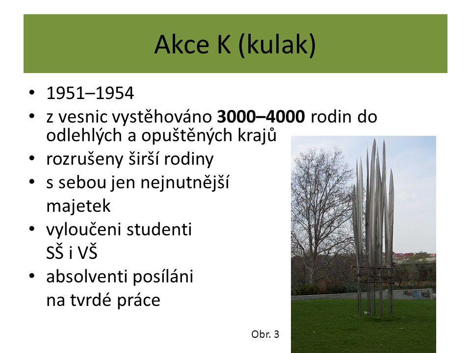 Akce K (kulak) 1951–1954. z vesnic vystěhováno 3000–4000 rodin do odlehlých a opuštěných krajů. rozrušeny širší rodiny.