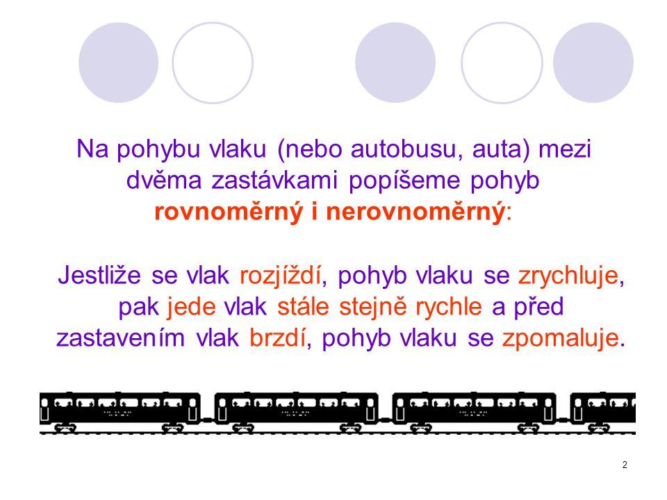 Na pohybu vlaku (nebo autobusu, auta) mezi dvěma zastávkami popíšeme pohyb rovnoměrný i nerovnoměrný:
