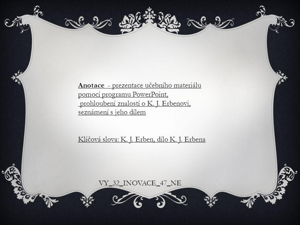 Anotace - prezentace učebního materiálu pomocí programu PowerPoint,