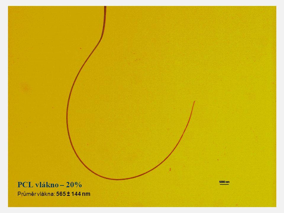 PCL vlákno – 20% Průměr vlákna: 565 ± 144 nm