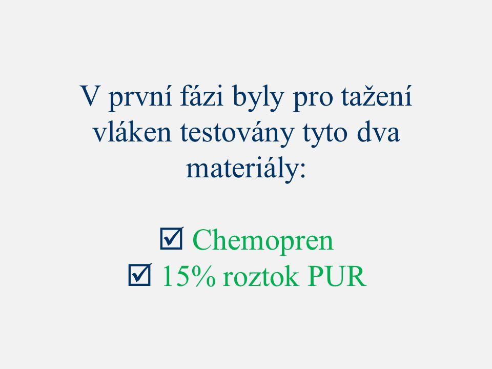 V první fázi byly pro tažení vláken testovány tyto dva materiály:  Chemopren  15% roztok PUR