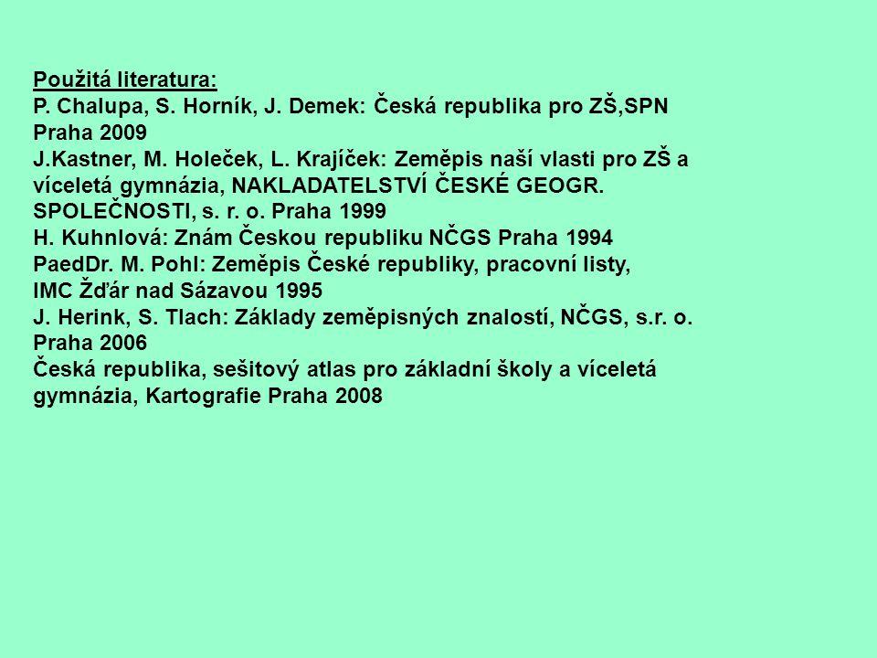 Použitá literatura: P. Chalupa, S. Horník, J. Demek: Česká republika pro ZŠ,SPN Praha 2009.