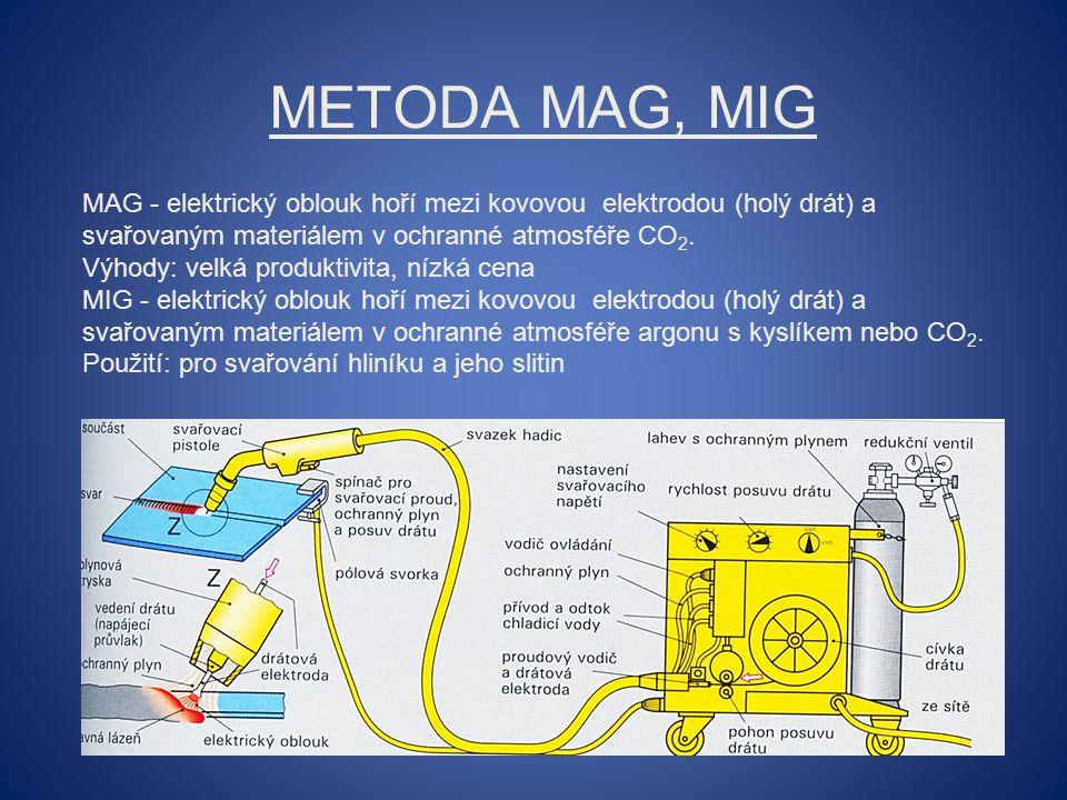 Metoda MAG, MIG MAG - elektrický oblouk hoří mezi kovovou elektrodou (holý drát) a svařovaným materiálem v ochranné atmosféře CO2.
