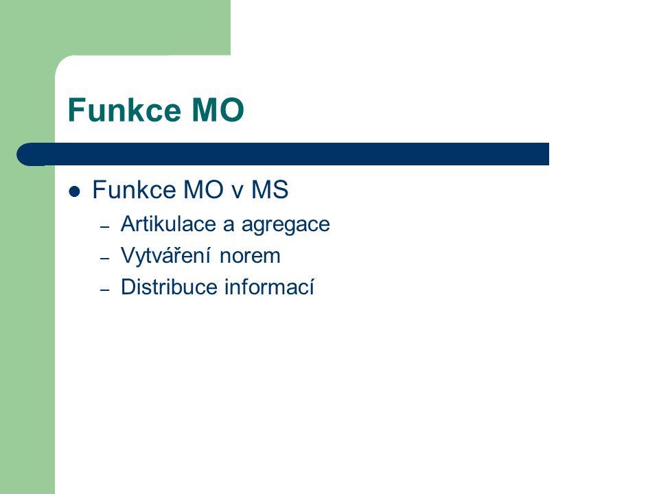 Funkce MO Funkce MO v MS Artikulace a agregace Vytváření norem