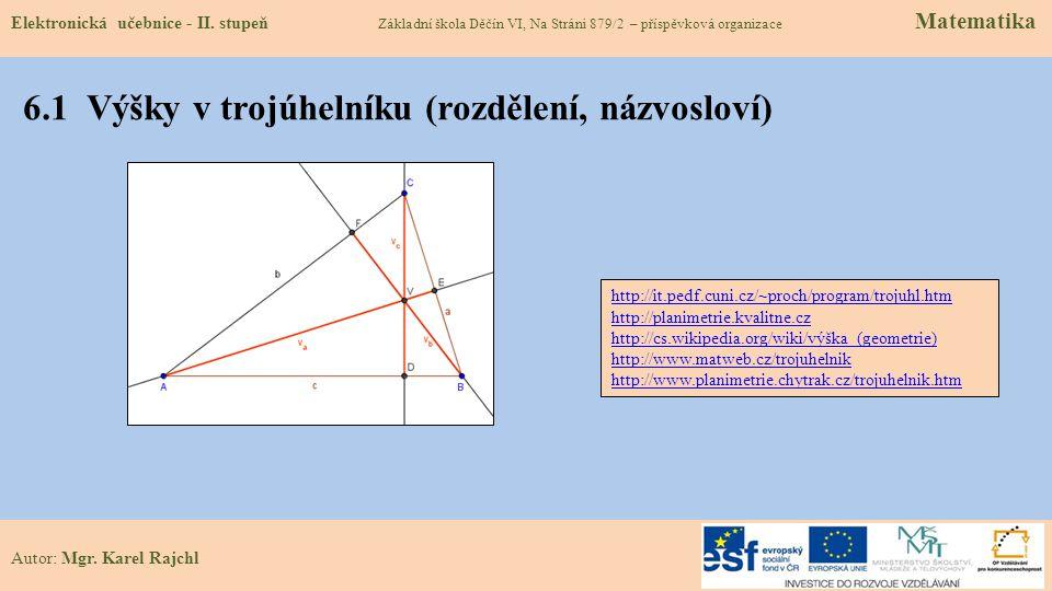 6.1 Výšky v trojúhelníku (rozdělení, názvosloví)