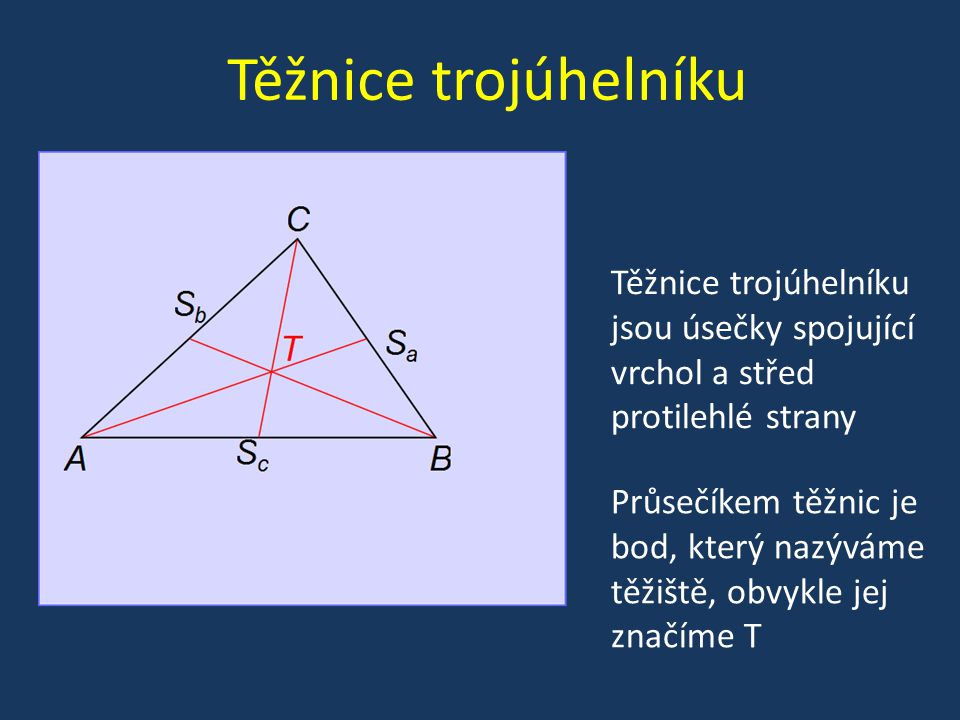 Těžnice trojúhelníku Těžnice trojúhelníku jsou úsečky spojující vrchol a střed protilehlé strany.