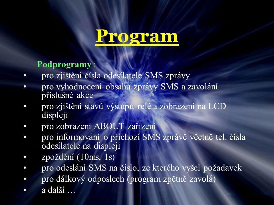 Program Podprogramy : pro zjištění čísla odesílatele SMS zprávy
