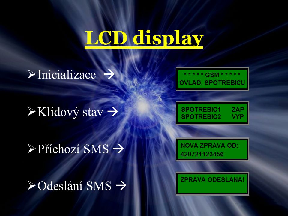 LCD display Inicializace  Klidový stav  Příchozí SMS 