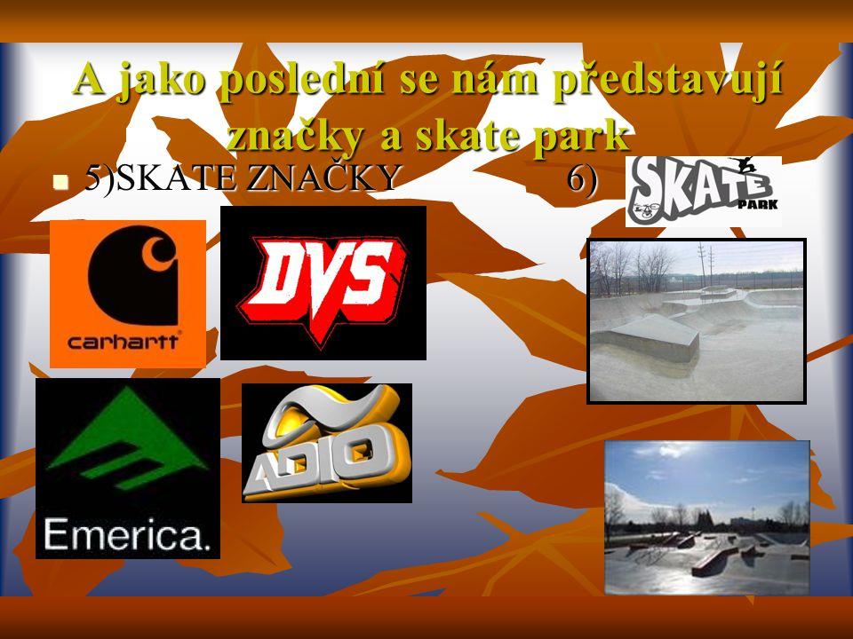 A jako poslední se nám představují značky a skate park