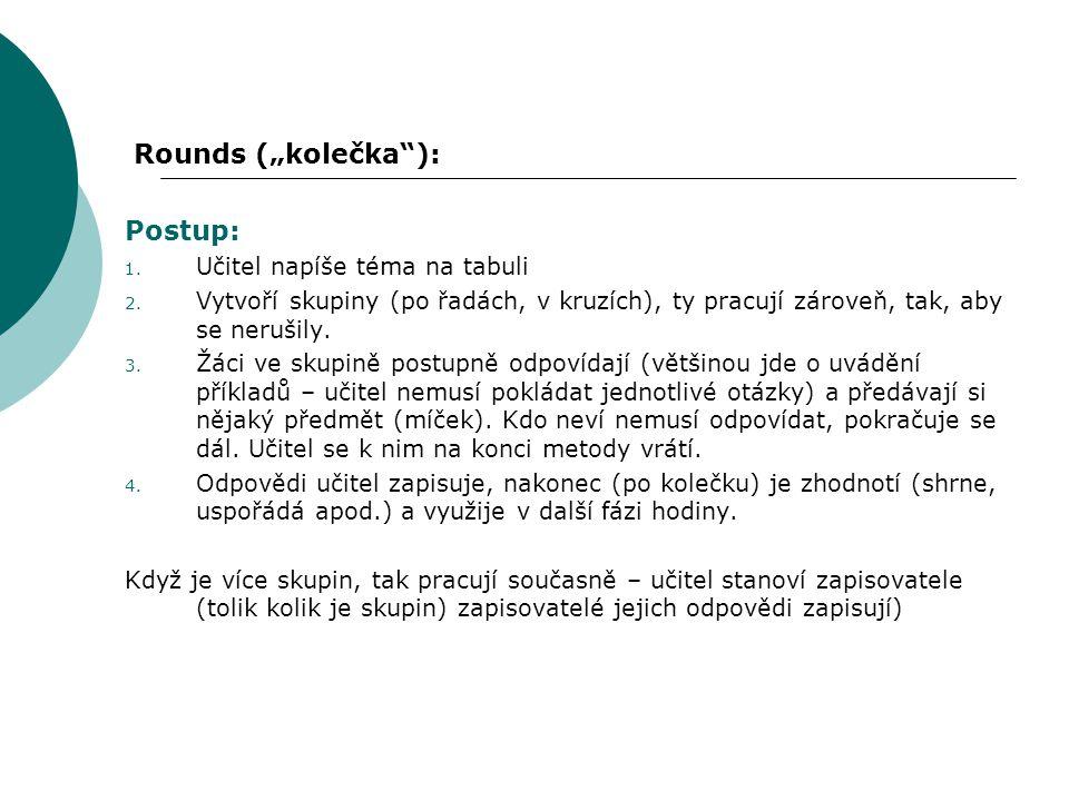 """Rounds (""""kolečka ): Postup: Učitel napíše téma na tabuli"""
