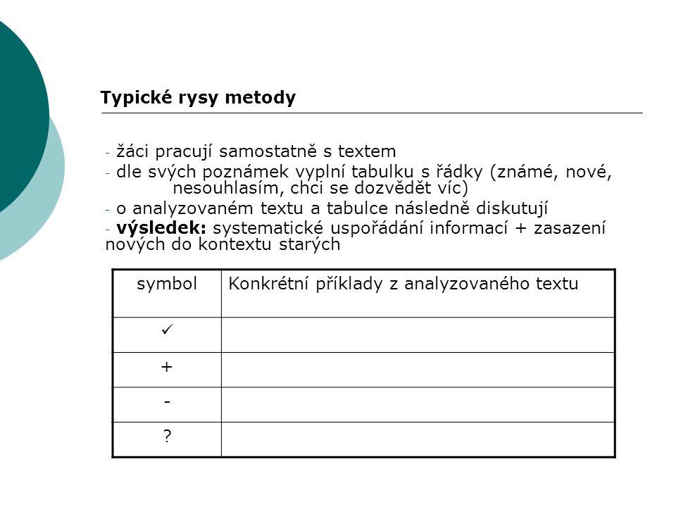 Typické rysy metody žáci pracují samostatně s textem. dle svých poznámek vyplní tabulku s řádky (známé, nové, nesouhlasím, chci se dozvědět víc)